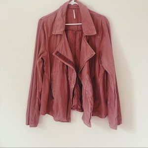 Free People Linen/Cotton Mauve Snap Button Blazer